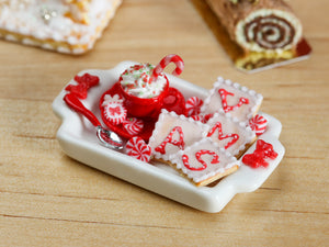 Christmas Cappuccino and Snack Tray Set with X-M-A-S Cookies - Miniature Food