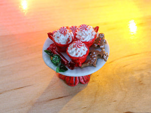 Christmas Cappuccinos, Gingerbread Man, Reindeer, Wrapped Candy - Miniature Food
