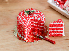 Load image into Gallery viewer, Red Velvet Layer Cake with Slice for Christmas Decorated with Holly, Arabesque Swirls - 12th Scale Miniature Food