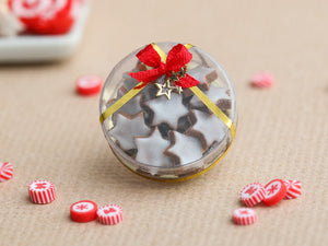 Christmas Gift Box of Iced Cinnamon Star Cookies (Etoiles à la canelle) - Miniature Food
