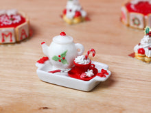 Load image into Gallery viewer, Christmas Cappuccino Tray Set with Snowflake Sugar - Miniature Food