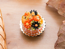 Load image into Gallery viewer, Orange Autumn Cake Decorated with Pumpkins, Marguerite Flowers, Apple Cookies and Caramels