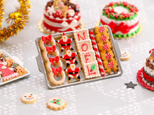 Load image into Gallery viewer, Christmas Cookies - Wreath, Santa, NOEL, Peppermint Candy Bows - Miniature Food