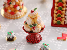 Load image into Gallery viewer, Christmas Choux Bun Display with Holly Decoration - Red Stand Stand- Miniature Food