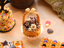 Load image into Gallery viewer, Autumn Basket Cake Filled with Dark, Milk and White Chocolate Pumpkins - 12th Scale Miniature Food