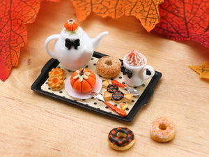Autumn Teatime Tray Set (Teapot, Cookies, Donut, Pumpkin Cake) - Miniature Food