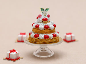Three Tiered Christmas St Honoré Pastry Centerpiece - Miniature Food