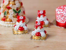 Load image into Gallery viewer, Christmas Bow St Honoré Pastry, Cake, Gateau - Miniature Food in 12th Scale