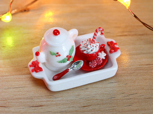 Christmas Cappuccino Set with Treats, Bas Relief Holly Teapot - Miniature Food