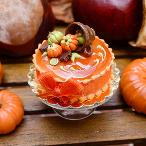 French Caramel and Chocolate 'Spilt Cup' Autumn Gateau - 12th Scale Miniature Food