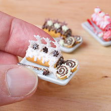 Load image into Gallery viewer, Christmas Swiss Roll Yule Log - Prancing Reindeers - 12th Scale Miniature Food