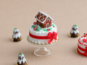 Christmas Cake Decorated with Tiny Gingerbread House - Miniature Food