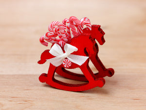 Rocking Horse Christmas Candy Cane Display (Red) - 12th Scale Miniature