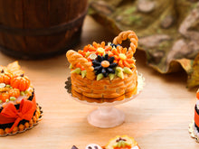 Load image into Gallery viewer, Autumn Basket Cake of Orange and Black Marguerite Daisy Flowers - Miniature Food