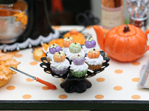 Pumpkin Cupcakes on Stand for Autumn / Fall - Miniature Food