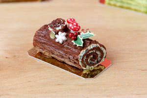 Traditional Dark Chocolate Yule Log / Bûche de Noël - Miniature Food