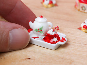 Christmas Cappuccino Tray Set with Snowflake Sugar - Miniature Food