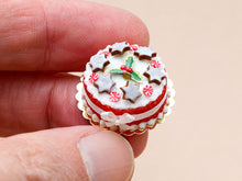 Load image into Gallery viewer, Christmas Cake Decorated with Iced Cinnamon Star Cookies - Miniature Food