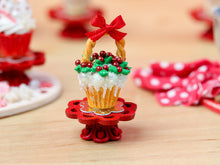 Load image into Gallery viewer, Showstopper Christmas Cupcake Snowy Holly Basket C - 12th Scale Miniature Food
