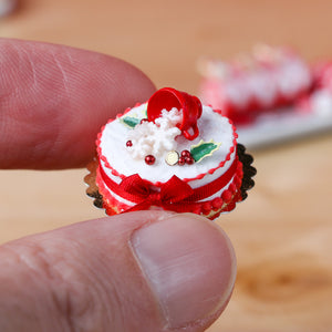 Christmas Cake with Snowflakes Spilling from Cup - 12th Scale Miniature Food