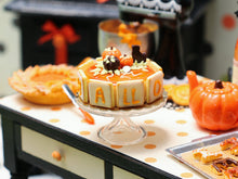 Load image into Gallery viewer, Halloween Cake Decorated with Lettered Cookies - Miniature Food in 12th scale