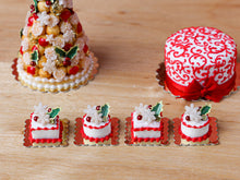 Load image into Gallery viewer, Christmas Cake Pastry (Round) Holly and Snowflakes - Miniature Food