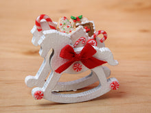 Load image into Gallery viewer, Rocking Horse Christmas Candy Cane Display (White) - 12th Scale Miniature