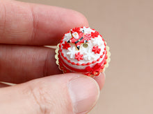 Load image into Gallery viewer, Christmas Cake Decorated with Santa Star Cookie and Snowflake Candies - Miniature Food