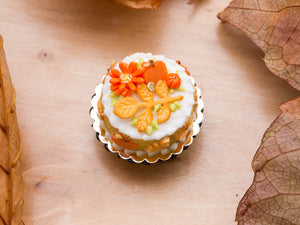Fall Cake Decorated with Leaf and Branch Cookie, Apple, Flower and Pumpkin Candies - 12th Scale Miniature Food