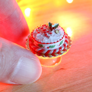 Christmas Cake Decorated with Candy Cane and Holly Piping - 12th Scale Miniature Food