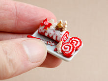 Load image into Gallery viewer, Christmas Red Velvet Swiss Roll Yule Log with Gingerbread Couple in Forest - Miniature Food