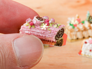 Traditional Chocolate and Raspberry Pink Yule Log / Bûche de Noël - Miniature Food in 12th Scale