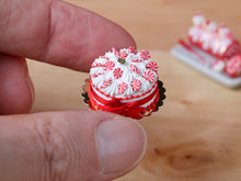 Load image into Gallery viewer, Christmas Cream Cake Decorated with Peppermint Candy - Miniature Food