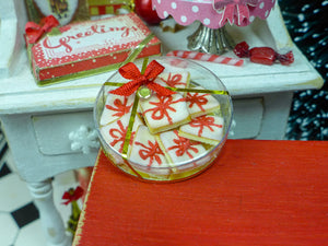 Gift Box of Iced 'Christmas Present' Cookies - 12th Scale Miniature Food
