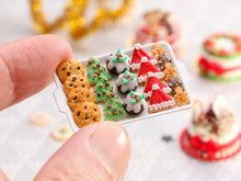 Load image into Gallery viewer, Christmas Cookies - Chocolate Chip, Christmas Trees, Puddings, Santa Hats, Gingerbread Men - Miniature Food