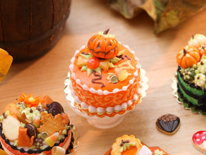 Miniature Cake with Jack O'Lantern and Halloween Candy and Cookie - 12th Scale Miniature Food