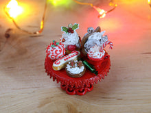Load image into Gallery viewer, Christmas Pastries on Stand - 12th Scale Miniature Food