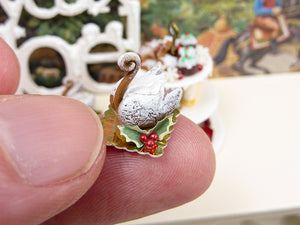 Gingerbread Swan - Individual Christmas Pastry - 12th Scale Miniature Food