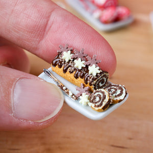 Chocolate Christmas Swiss Roll with Chocolate Snowflakes - 12th Scale Miniature Food