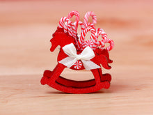 Load image into Gallery viewer, Rocking Horse Christmas Candy Cane Display (Red) - 12th Scale Miniature