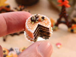 Open Chocolate Cake Decorated with Chocolate Pumpkins Candy Corn - 12th Scale Miniature Food