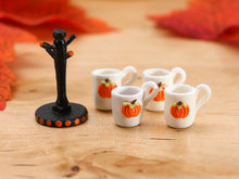 Load image into Gallery viewer, Pumpkin Bas Relief Teapot and Mug Tree - 12th Scale Dollhouse Miniature