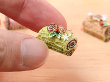 Load image into Gallery viewer, Traditional Pistachio Yule Log / Bûche de Noël - Miniature Food in 12th Scale