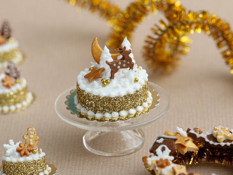 Golden Christmas Forest Cake Decorated with Gingerbread Reindeer, Snowy Trees  - Miniature Food