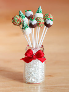 Christmas Cake Pops with Glass Presentation Jar - Set 1 - Miniature Food