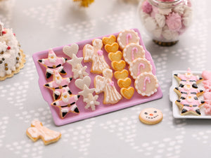 Pink Christmas Cookie Display - Pink Star Santa, Angels, Candy Cane Cookies - Choice of Pink or White Tray - Miniature Food