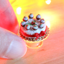 Load image into Gallery viewer, Christmas Cake Decorated with Tiny Christmas Puddings Holly and Red Ribbon - Miniature Food
