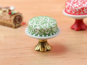 Modern Designer Christmas Cake 'Swirls' on Stand - Red or Green - Miniature Food