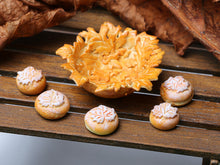 "Load image into Gallery viewer, Autumn Bread Rolls Loaf in ""Leaf"" Basket - Miniature Food"