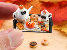 Load image into Gallery viewer, Autumn Teatime Tray Set (Teapot, Cookies, Donut, Pumpkin Cake) - Miniature Food